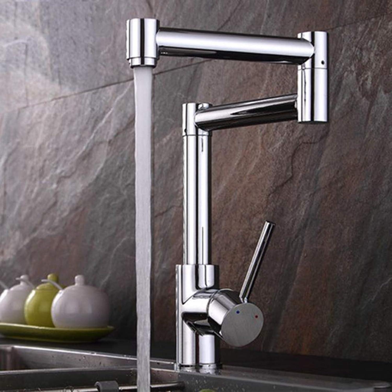 FZHLR Küchenarmatur 720 Grad-Schwenker-Edelstahl Chrom-Wannen-Hahn Universal-Einhand-Heier Und Kalter Mischer Folding Bar Wasserhahn, Chrom