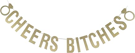 E-muse Gold Glitter Cheers Bitches Bunting Banner with Diamond Rings Bachelorette Party Decorations