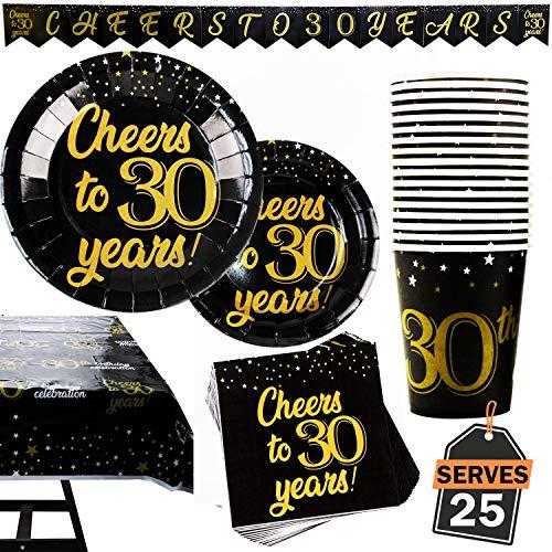 102-teiliges Set mit Partyzubehör zum 30. Geburtstag oder Jubiläum, besteht aus Tellern, Tassen, Servietten, Banner und Tischdecke, für 25 Personen