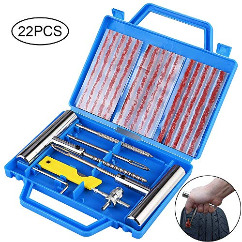 Faburo Kit de Reparación de Neumáticos, Kit Repara Pinchazos Pequeño Herramienta de Reparación de Pinchazos para Neumaticos