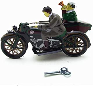 HeavenSense Motorcycle with Passenger in Sidecar Retro Clockwork Wind Up Tin Toys with Box