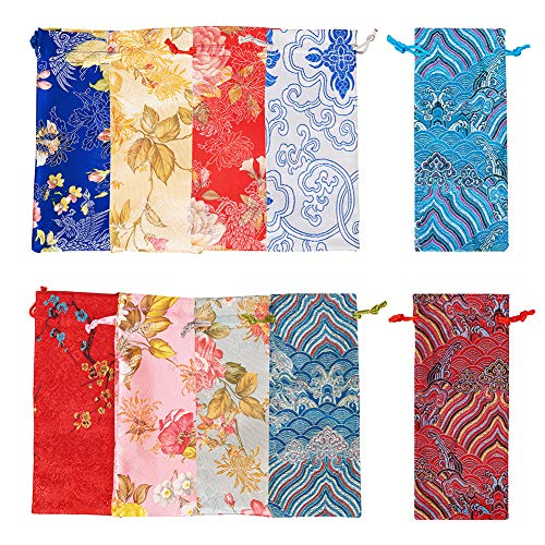 PH PandaHall 10pcs 10 Colors Silk Drawstring Bag Chinese Silk Brocade Drawstring Pouch Candy Sachet Wallet Jewelry Bag for Wedding Favor Bags Jewelry Storage
