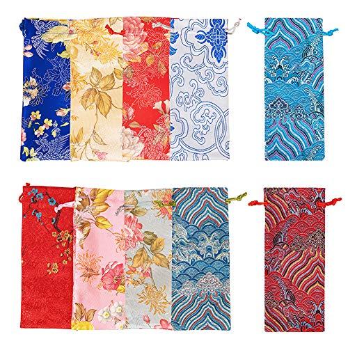 PandaHall Elite 10 bolsas de seda de 10 colores con cordón y brocado de seda china, bolsa de cordón para caramelos, bolsa de joyería para regalos de boda, bolsas de almacenamiento de joyas