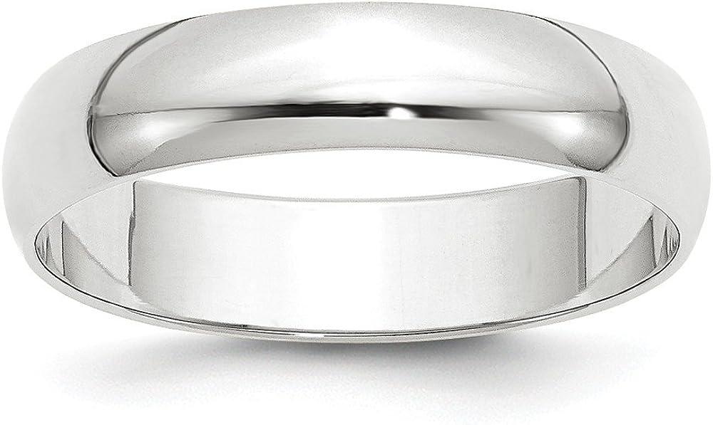 Solid 10k White Gold 5mm Half Round Wedding Band