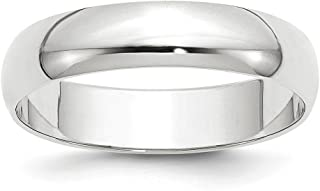 14k White Gold 5mm Half Round Wedding Ring Band Size 10 Classic Fine Jewelry For Women Gifts For Her