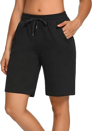 SEVEGO Women's 10'' Inseam Cotton Bermuda Shorts with 3 Pockets Activewear Knit Lounge Pamaja Jersey Walking Shorts