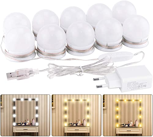Lumière de Miroir, K KUMEED 10 Ampoules Hollywood Kit de Lumière LED Dimmable Lampe pour Miroir Cosmétique Salle de B...