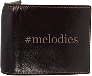 #melodies - Genuine Engraved Hashtag Soft Cowhide Bifold Leather Wallet
