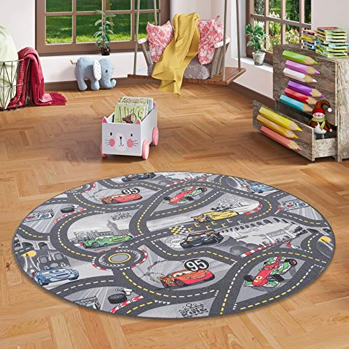Snapstyle Alfombra Carretera Infantil de Juegos Disney Cars Redonda -