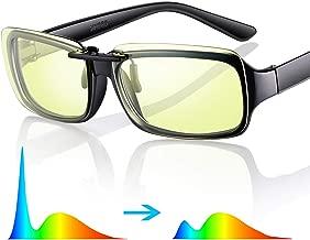 Amprofilm Blue Light Blocking Glasses Clip-on Computer Gaming Glasses [ 68% Blue Blocking]-Amber Tinted Lenses- [Anti Digital Eye Strain, Reduce Headache & Better Sleep]- Ultra Lightweight