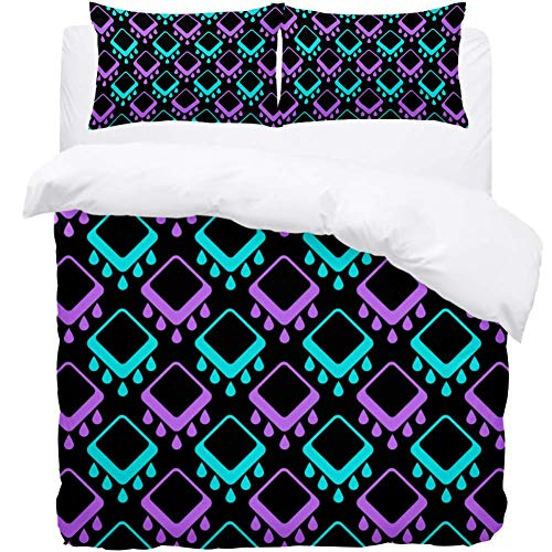 rdsworth Toby Abstract Geometric Pattern Printed Bed Sheet Set of 3,Four Sizes Designs Bed Sheets and Pillow Cases with a Hidden Double-Sided Zipper