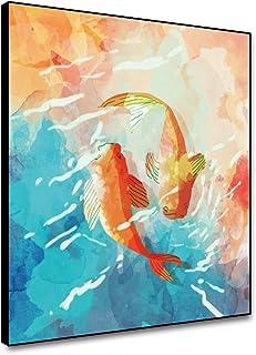 Fish Koi painting on canvas Japanese Carp oil art Lotus pond original painting 2020 in\u0441h.