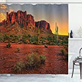 Ambesonne Saguaro Cactus Decor Collection, Colorful Sunset View of the Desert...