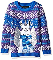 Unicorn Llama Boys Sweater in Hanukkah and Christmas Colors