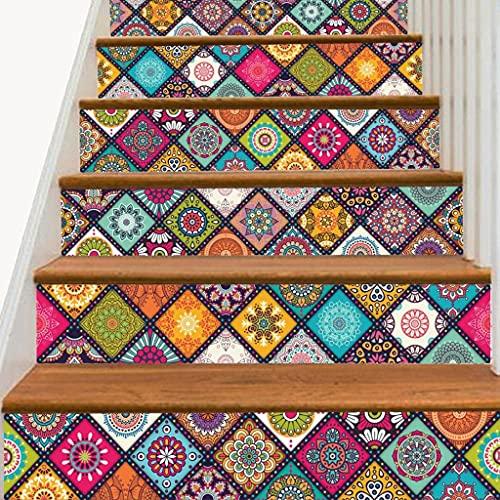 Sticker 6 Piezas de calcomanías para Pegar y Pegar Azulejos para Salpicaduras de escaleras, calcomanías para Azulejos de Bricolaje, calcomanías para Azulejos Tradicionales Mexicanos a Prueba de Agua