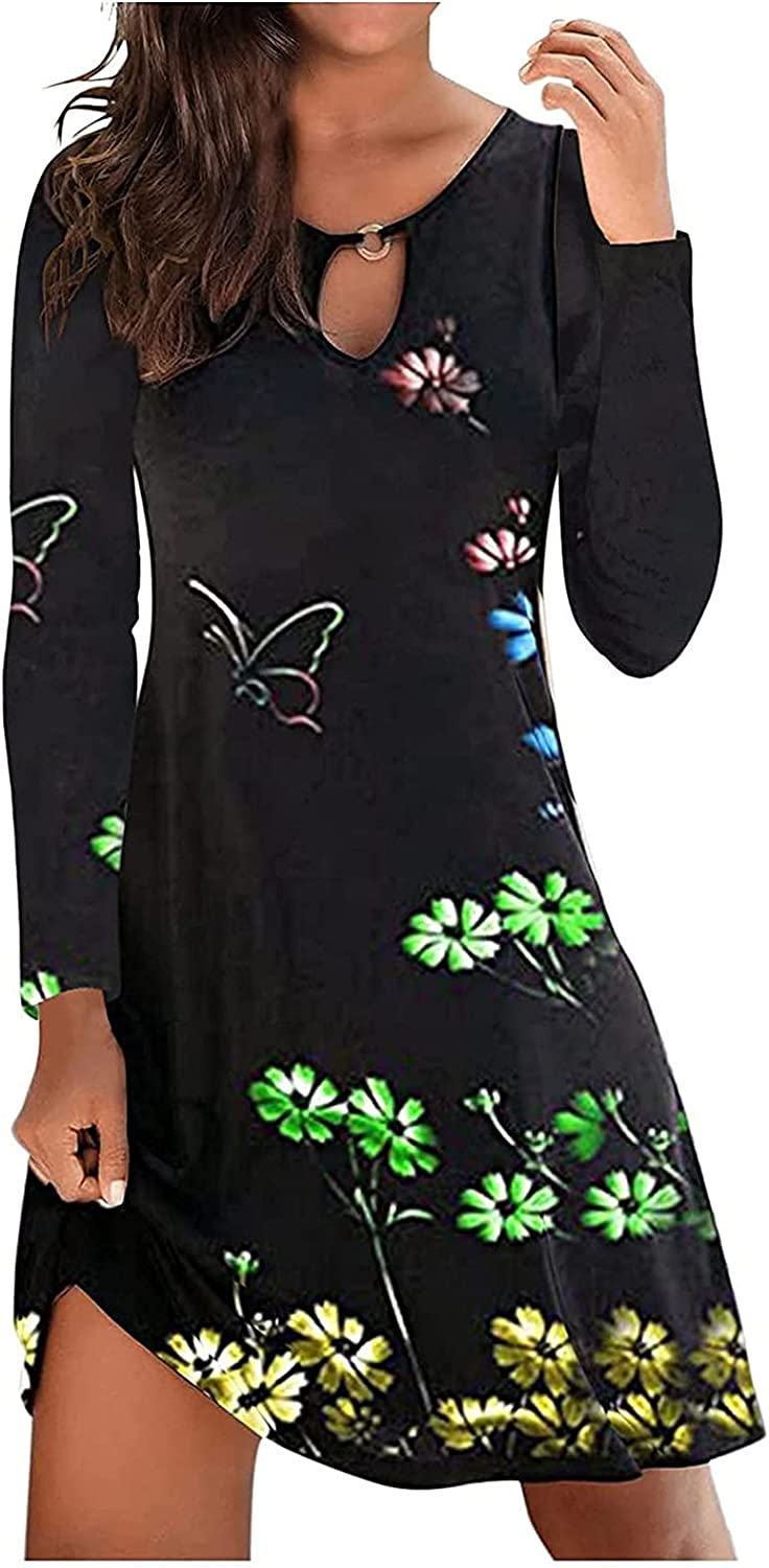 Cristophes Fall Dresses for Women Party Sexy 2037 Plus Size Tue T Shirt V Neck Pockets Casual Dress