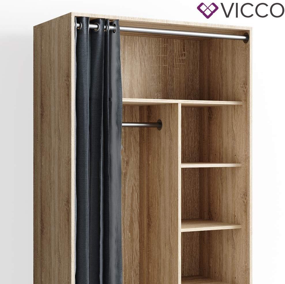 VICCO mobiler Kleiderschrank DOROS auf Rollen Dielenschrank offen Garderobe Sonoma