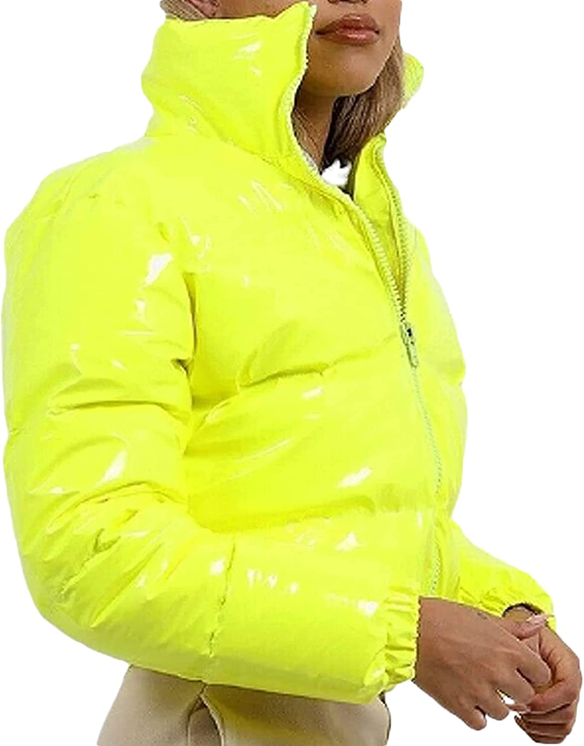 Women's Lightweight Puffer Cropped Jacket Casual Long Sleeve Solid Color Zip Up Baggy Winter Warm Short Coat