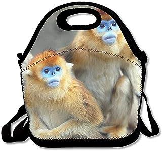 再利用可能なランチバッグゴールデンモンキーフードハンドバッグカスタムランチホルダープリントランチトートバッグ大人と子供のための多機能ランチボックスオーガナイザー