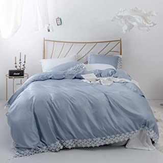 FADFAY Duvet Cover Set Twin Grey Blue Silk Like Fabric with White Guipure Exquisite Craft Super Soft Hidden Zipper Closure Twin Size 2 Pieces(1 Pillowcase+1 Duvet Cover)