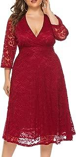 Best plus size lace red dress Reviews