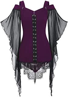 LOKODO Women Gothic Criss Cross Lace Insert Butterfly Sleeve T-Shirt Plus Size Tops Witch Costume Halloween Cosplay Costumes