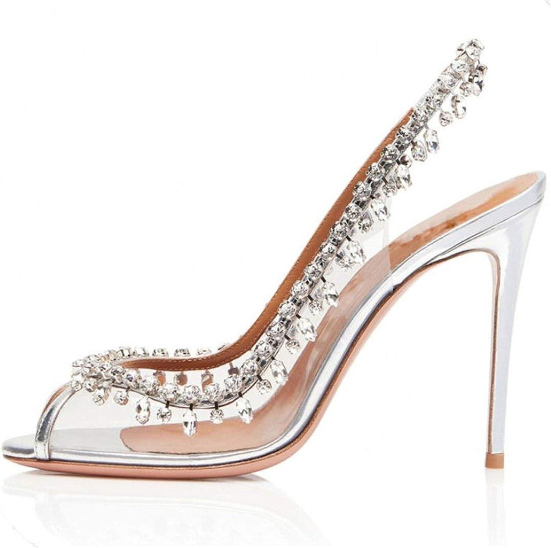 Beauty-inside Sexy High Heel Women Sandals Rhinestone Wedding shoes Transparent Dress Open Toe Summer