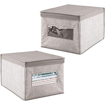 mDesign – Juego de 2 cajas organizadoras para ordenar armarios ...