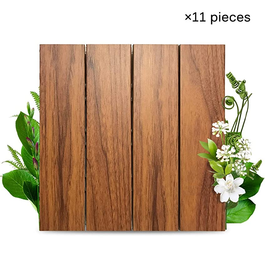 登るブラウザ省略するウッドデッキ、 木製の床、中庭のヴィラテラスのバスルーム屋外の防錆プラスチック製の木製の床、DIYステッチ、サイズ11.8 * 11.8インチ、(11個入り)、11個/㎡
