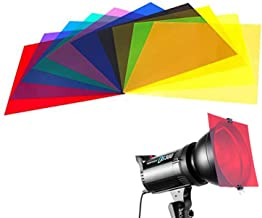 10 Pieces Colored Overlays Light Gels Transparency Color Film Plastic Sheets Correction Gel Light Filter Sheet, 12 by 12 Inch,10 Assorted Colors