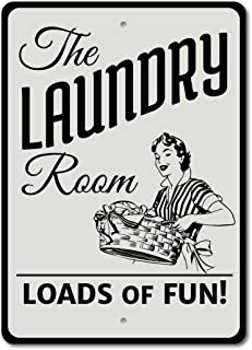 Laundry Room Loads of Fun Étain Mur Signe Affiche de Fer Métal Mur étain Panneau Attention Plaque Rétro décoration Murale ...