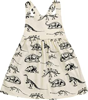Infant Toddle Baby Girls Cotton Dinosaur Print Half Sleeve Skirt Dress Cotton Outfit Clothing
