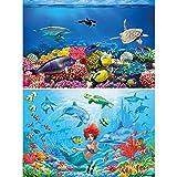 GREAT ART Juego de 2 Carteles XXL Mundo Submarino decoración de la Pared Peces y Sirena - Criaturas Marinas Tortuga delfín Foto Papel Pintado - Foto Papel Tapiz (140 x 100 cm)
