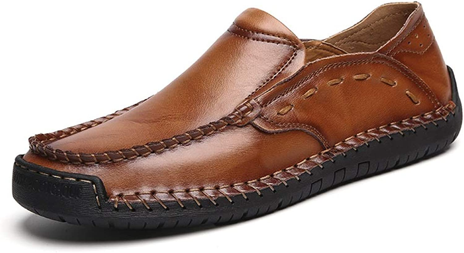 Ino Durable and Fashion Hand-Made Business Casual PU Leather shoes for Men Comfortable Breathable Anti-Slip Flat Loafers Lined Slip-on Round Toe