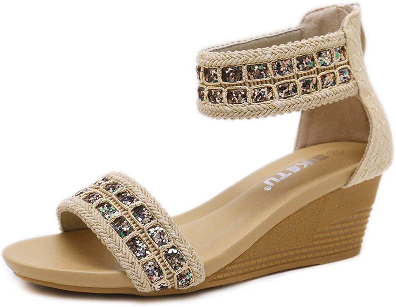 Wedge Flip-Flops Sandals for Women,Summer Bohemia Bling Rhinestone Open Toe shoes