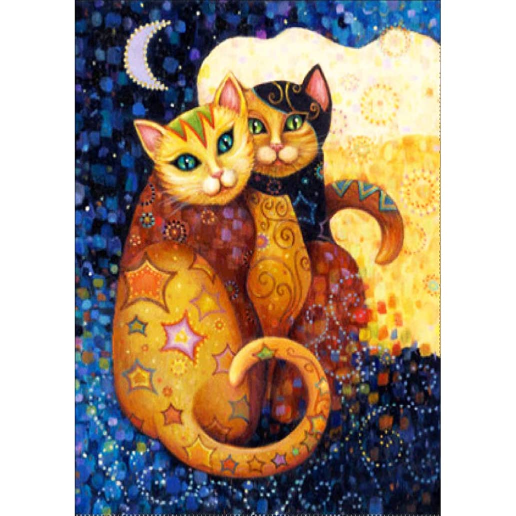 FAIRYLOVE DIY 5D Diamond Painting Kits for Kids and Adult, Cross Stitch Kits Crystal Diamond Pictures Arts Craft for Home Wall Decor, Full Drill Diamond Painting Kits Embroidery Lover Cat(12