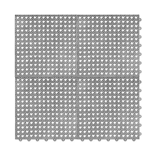 Rubber Floor Mats Modular Interlocking 4pcs Gray 12' x 12' Mat Anti-Slip Wet Area Floor Tile Mats Drain Kitchen Restaurant Deck Pool Patio Balcony Yard Pet Area Washer Pad Commercial Anti-Fatigue