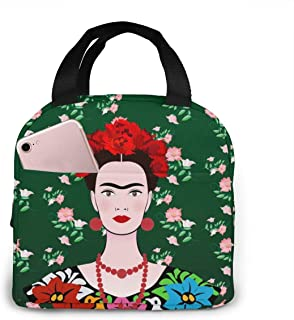 ACHOGI Frida Kaklo Mexican Woman Reusable Insulated Lunch Bag Tote,Cooler Bags Lunch Box With Front Pocket Zipper Closure For Woman Man Work Picnic Or Travel Gifts