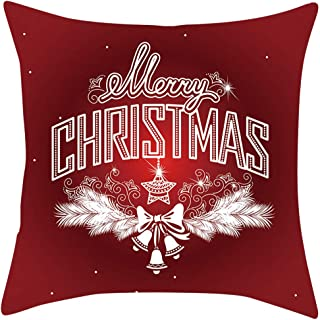 ErYao Christmas Decoration Pillow Cover Snowflakes Christmas Throw Pillow Cases Square Pillowcase Farmhouse Xmas Pillow Cases Slipcovers for Sofa Bed Chair Car