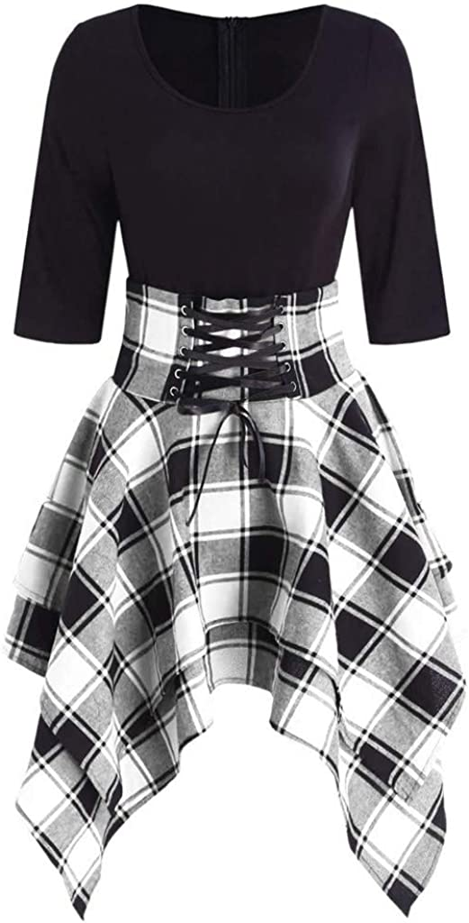 YANG-YI Plaid Dress Womens Casual Long Sleeve O-Neck Lace Up Asymmetrical Slim Mini Dress