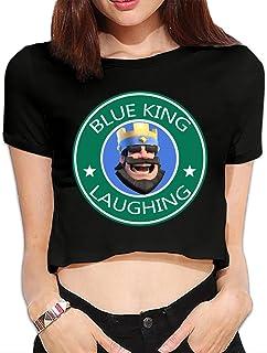 SAXON13 Women's Funny Blue King Laughing Bare Midriff Shirt Black