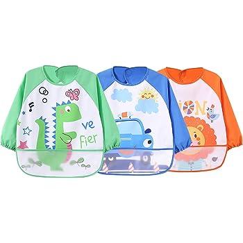 4pcs Baby Kleinkind Kinder Lätzchen Wasserdichte Langarm Ärmellätzchen mit Ärmel