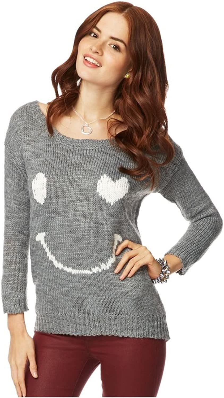 Aeropostale Womens Loose Heart Smile Knit Sweater