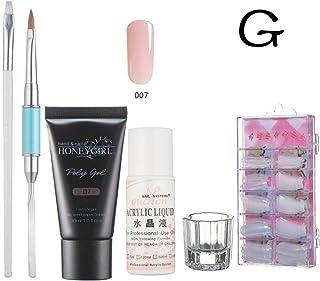 Vanvler Nail Art Rosa Nail Gel Tips Extension Camouflage Builder Gel Lack Glue Nail Extension Set (G)