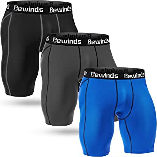 Bewinds Men's Performance Compression Shorts 3 Pack Quick Dry Sports Tights Shorts for Running,Workout,Training