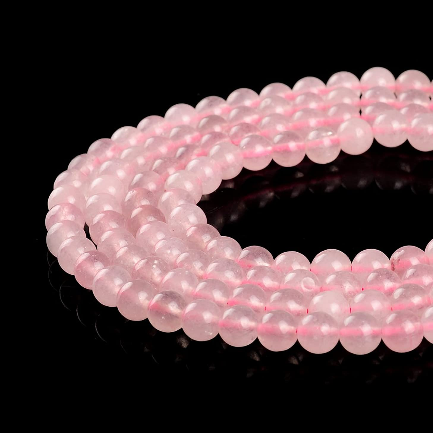 Natural Rose Quartz Stone Beads Pink Round Faced Matte Gemstone Loose Beads For Jewelry Making 2MM 3MM 4MM 6MM 8MM 10MM 12MM (4MM, Rose Round)