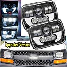 """Led Headlights DRL 7X6 5X7"""" inch For Chevy Express Cargo Van 1500 2500 3500 Van Ford F650 Conversion Kit Replace H6014 H6052 H6054 H6054 H6012, Sealed Beam Rectangular Super Bright 6000k"""