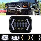 7x6 inch Halo LED Headlight, 5x7 inch Square LED Headlamp with Arrow Angel Eyes DRL Turn Signal Light Replaces H6054 H5054 H6054LL 69822 Fit Trucks Jeep Wrangler XJ YJ Sedans GMC --- Smoked Lens