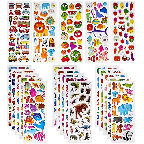 Fruits Dinosaurs Numbers 20 Different Sheets 3D Stickers for Kids /& Toddlers 500+ Puffy Stickers Bulk Kids Stickers for Scrapbooking Customizing Planners Notebooks Including Animal Cars and More