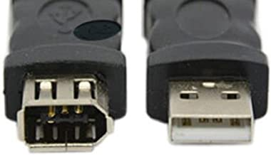 Firewire Ieee 1394 6 Pin Female F to USB 1.1/2.0 M Male Adaptor Converter Make Plug and Play Connections Your Computer Color Black